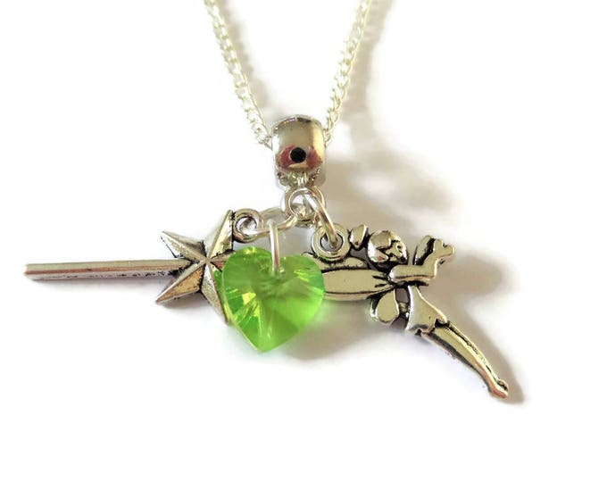 "Peter Pan inspired charm silver tone 20"" necklace Tinkerbell Fairy ouat fan gift party favors jewellery Uk"