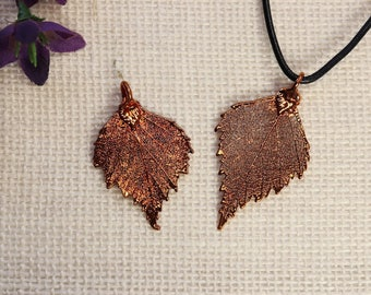 SALE Leaf Necklace, Copper Birch Leaf, Real Birch Leaf Necklace, Tree Leaf, Copper Leaf Pendant, SALE388