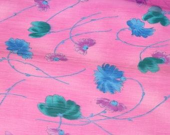 1 yard of Chiffon Fabric, Indian Polyester Fabric, Floral Print Chiffon Fabric, Off-White Fabric, Shibori Fabric