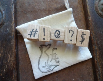 Set of Hand Carved Punctuation Stamps, Teacher Gift, Stocking Stuffer, Exclamation Point, Question Mark, Hashtag, Number Sign, Money, At