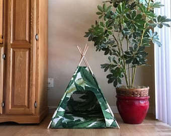 Swaying Palms Indoor/Outdoor Pet Teepee - choose your size - made to order for your cat or dog