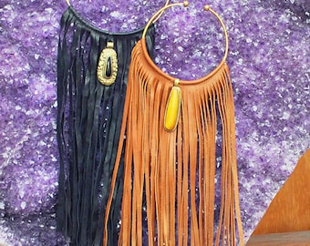 Genuine Leather Fringed Necklace with Handmade Pendent