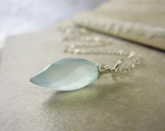 Wire Wrapped Sterling Silver Charms - Aqua Blue Chalcedony Pendant - Light Blue Gemstone Jewelry Handmade Stone Jewelry - JustDangles