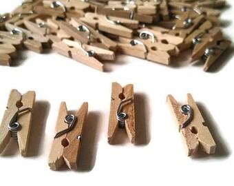 100 Mini Clothespins, 1'' Wedding Favor Decorations