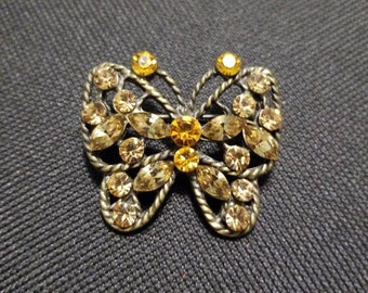 Rhinestone Butterfly Vintage Brooch