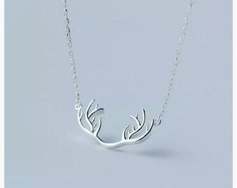 SALE 925 Sterling Silver Antler Necklace