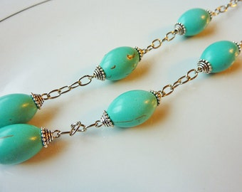 Teal Blue Turquoise Link Necklace