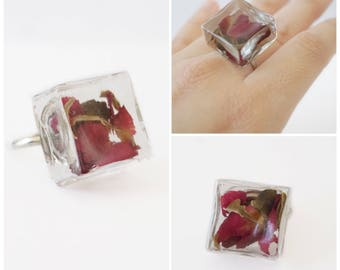 Glass Rose Ring | 14k White Gold | Adjustable Ring | Statement Ring | Rose Ring | Gift for Her | Novelty Ring | Glass Ring