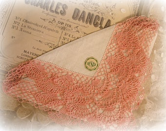 vintage hanky linen with peachy pink crocheted edging hand crochet . crocheted by hand MINT condition with original DESCO label