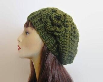 Green Slouch Crochet  Hat with Flower Green Beanie Green Crochet Beanie Crochet Women's hat Slouchy knit Green Beret  Dark Green slouch Tam