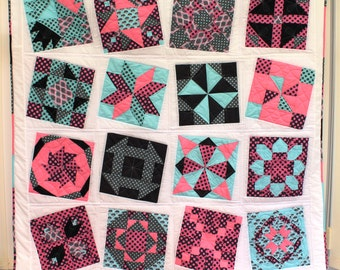 "Handmade Sampler Patchwork Quilt, 72"" square (double size)"