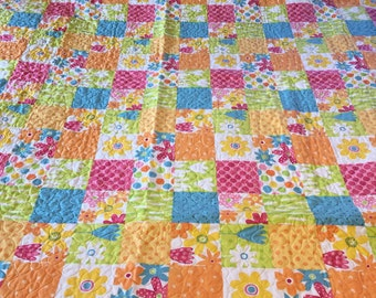 Spring cheater fabric Quilt newly quilted Queen/king Size, bedspread
