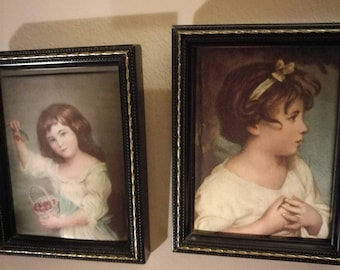 Pair of Vintage Miniature Silk Pictures , Girl With Cherries by John Russell and Age of Innocence by Sir Joshua Reynolds