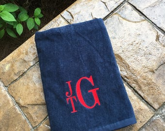 Personalized Beach Towel- Monogrammed Beach Towel- Monogram Towel -  Personalized towel - Red, Navy, Hot Pink, Royal Blue