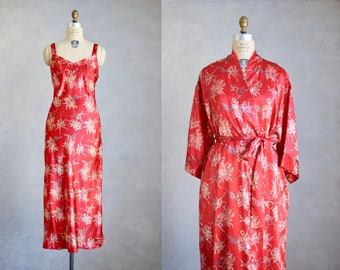 vintage red peignoir set | vintage 90s does 20s nightgown and robe set | floral print kimono robe and nightgown | 1920s style lingerie