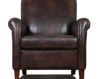 Genuine, High End, Leather Accent Chair - Club Chair - Cigar Chair