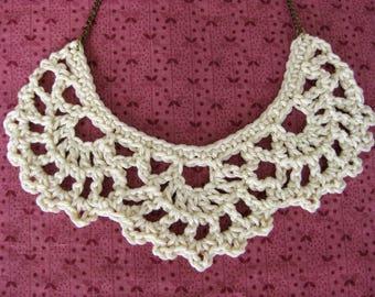 Crochet bib necklace, cream necklace, statement jewelry, vintage lace jewelry, bridesmaid gift, wedding jewelry, crochet necklace