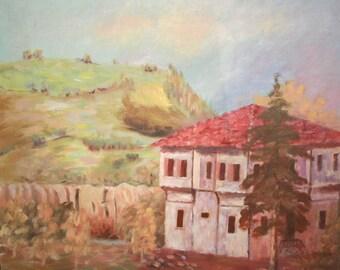 Vintage Impressionist Oil Painting, Landscape House