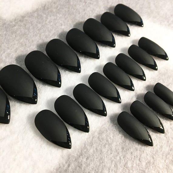 Black Matte And Gloss Faux Nails Fake Nails Matte Nails