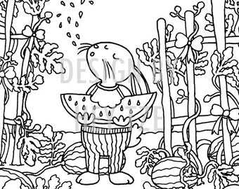 A6 Watermelon Patch Colouring Card - watermelon colouring page, A6 colouring page, rabbit colouring page, colouring for children