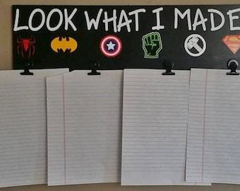 Children, Look What I Made Superheroes Wood Sign, Art Display, Child's Art Work, Kid's Art Hanger, Brag Board