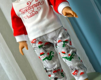 18 Inch Doll Clothes Two Piece Christmas Snowman Pajama Sleepwear Set by SEWSWEETDAISY