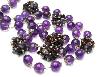 Amethyst round beads Necklace  garnet amethyst chip cluster  sterling  35 inches long Purple gemstone