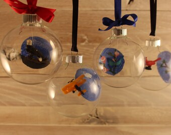 Hand-painted Personalized Miniature Flier Glass Ornament