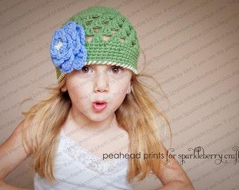 "Beanie Hat ""The Gabi"" Crocheted Ready to Ship Sz 2-4 Yrs and 5-Preteen Sage Cornflower Blue Ecru Open Weave Beanie Flower Trim"