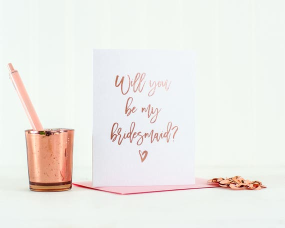 Rose Gold Foil Will You Be My Bridesmaid card bridesmaid proposal bridesmaid invitation foil bridesmaid card bridesmaid box bridesmaid gift
