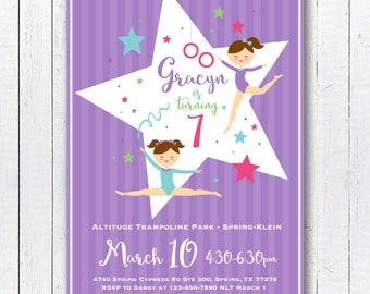 DIGITAL FILE Gymnastics Invitation, Gymnastics Invite, Gymnastics Party, Tumbling Birthday, 5x7 inch