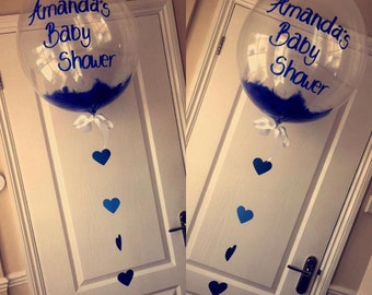 Personalised Bubble Balloons With Hand Written Writing & Filled With Feathers