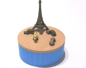 """Paris  Music Box 3D Printed , """"You Are My Sunshine"""",  Musical Box, Music Boxes, Personalized Music Box, WIND UP, Eiffe, Blue, Wood, Metalic"""