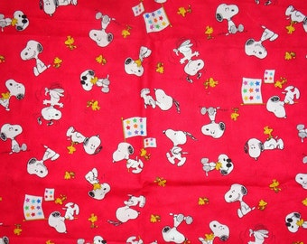 Red Snoopy Toss Cotton Fabric by the half yard