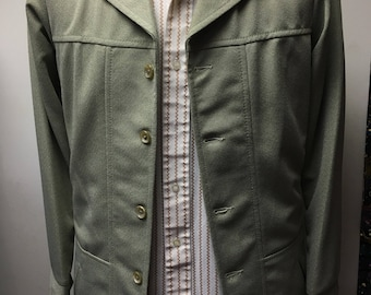 1970's VINTAGE MEN'S 100% polyester soft green leisure suit jacket with sz small