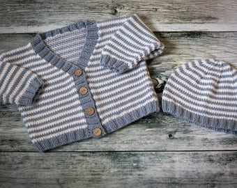 Hand Knit Striped Baby Cardigan & Beanie Set - Mist Blue, White - luxury Merino Wool/Cashmere blend yarn, choose size