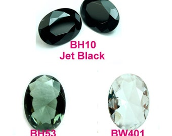 Glass Jewel 25x18mm Oval Faceted Pointed Back Unfoiled -  Diamond Clear, Black Diamond, Jet Black - Pick Your color