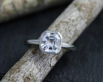 Asscher Cut White Topaz Ring, Peekaboo Bezel Set Ring, 14k White Gold, Alternative Engagement Ring, Made to Order