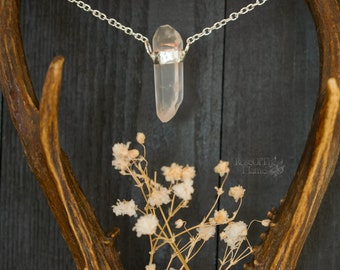 Crystal quartz necklace. Natural quartz jewelry. Crystal necklace. Crystal jewelry. Bridal necklace. Wedding jewelry. Wicca necklace