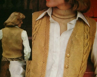 Vest Knitting Patterns Sweater Bernat 300 Women Children Girl Waistcoat Vintage Paper Original NOT a PDF