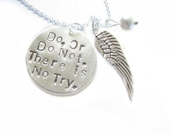 Angel Wing Necklace, Do or Do Not Pendant Hand Stamped Necklace, Personalized gift, birthday