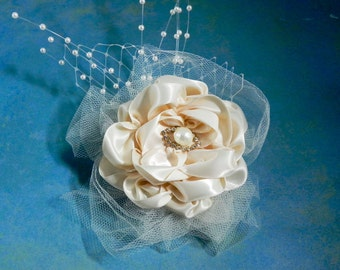 Bridal Flower Hair Comb - Cream