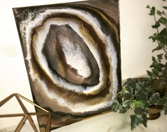 Lake effect- resin, art, home decor, contemporary, abstract, agate, brown, glitter.