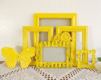 Yellow Sunflower Picture Frame Set Photo Gallery Collection Country Farmhouse Shabby Chic Cottage Home Decor Summer Wedding Decoration Gift