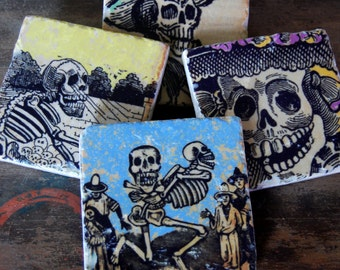 Day of the Dead coasters - set of 4 - immediate shipping