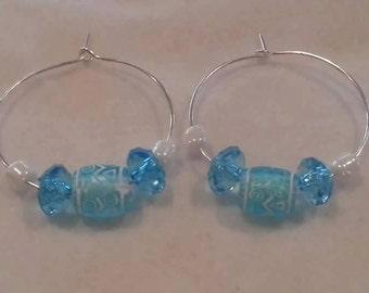 Teal ear wire earrings