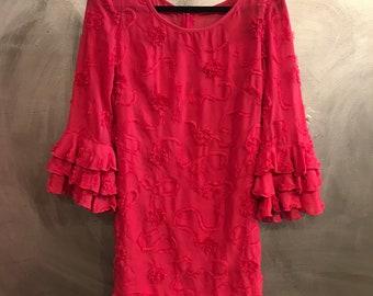 1970s pink ruffle mini dress/gogo dress/ruffle dress/-S