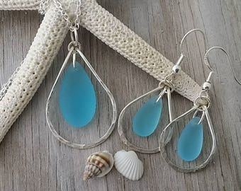 Made in Hawaii, Wire loop Turquoise Bay blue sea glass necklace + earrings jewelry set,925 sterling silver chain, Beach jewelry gift.
