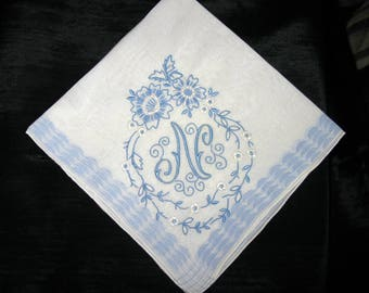 Embroidered Handkerchief Vintage Monogram F H N J A L R or P Wedding Hankerchief