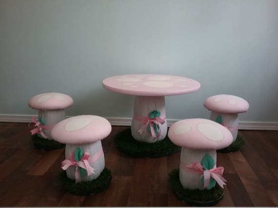 Mushroom Table Stools Chairs Handcrafted Set of Stools with
